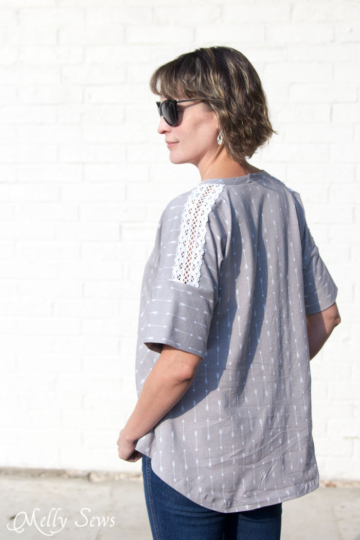Lace inset on a Summer Concert Tshirt pattern by Dixie DIY sewn by Melly Sews in By Popular Demand Knit