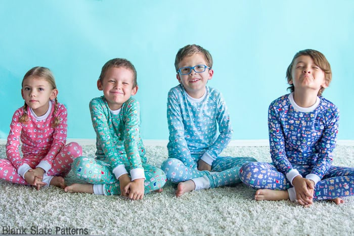 Cousins in a row - Dreamtime Jammies - Kids Pajama Pattern from Blank Slate Patterns - sew matching Christmas pajamas