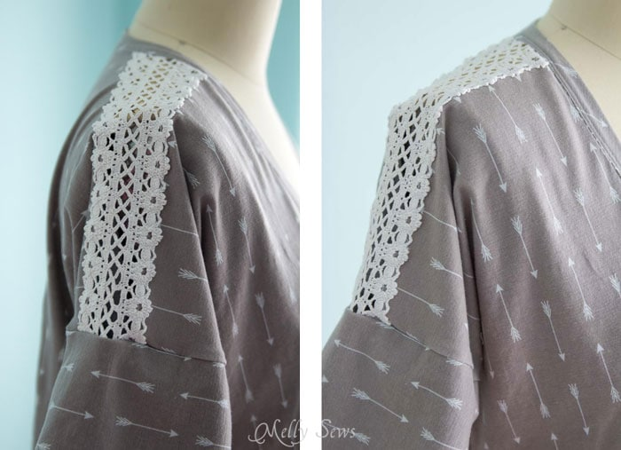 Lace detail on a sleeve - How to sew Lace Inset - Insert Lace in a Seam or anywhere else on a garment with this sewing technique - Melly Sews