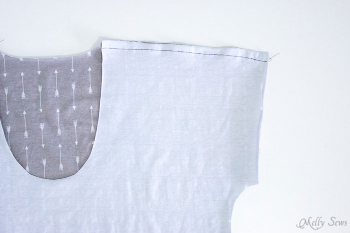 Seam with lace - Step 1, baste. How to sew Lace Inset - Insert Lace in a Seam or anywhere else on a garment with this sewing technique - Melly Sews