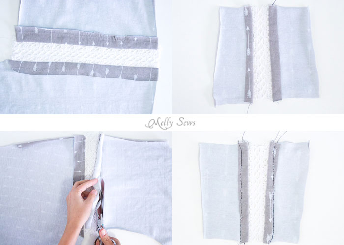 Inset lace steps - How to sew Lace Inset - Insert Lace in a Seam or anywhere else on a garment with this sewing technique - Melly Sews