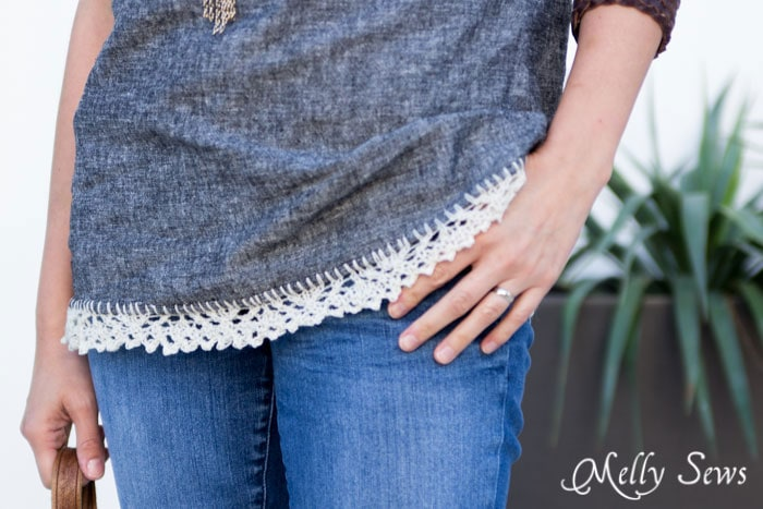 Close Up - How to Knit on Fabric - Create a Knitted Lace Edging on  Fabric - a DIY Tutorial by Melly Sews