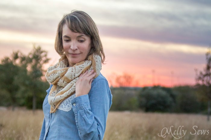 Worn as a scarf - Lorelai Shawl knitting pattern by Very Shannon knitted by Melly Sews