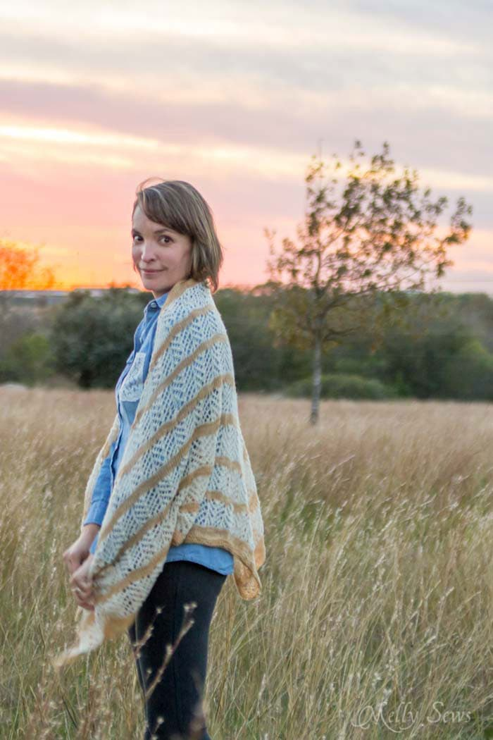 Lorelai Shawl knitting pattern by Very Shannon knitted by Melly Sews