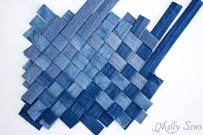 Alternate idea - woven denim - Upcycled Denim Cross Body Bag Tutorial - Great Way to Use Denim Scraps - Melly Sews