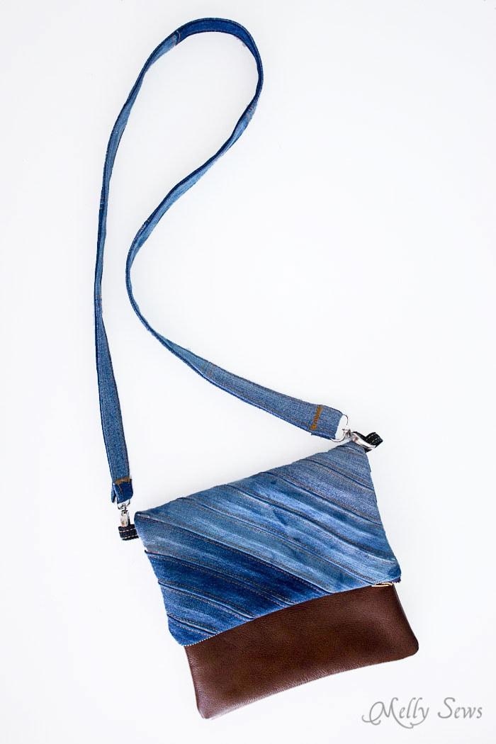 Upcycled Denim Cross Body Bag Tutorial - Great Way to Use Denim Scraps - Melly Sews