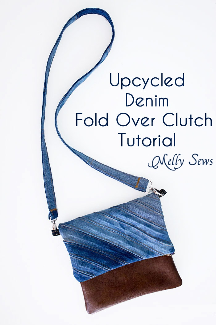 Sew a DIY fold over clutch using recycled denim and leather or faux leather with an optional cross body strap - Melly Sews Tutorial