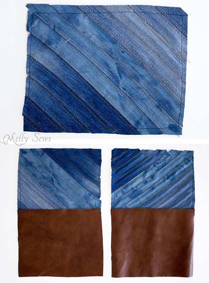 Step 2 - Upcycled Denim Cross Body Bag Tutorial - Great Way to Use Denim Scraps - Melly Sews
