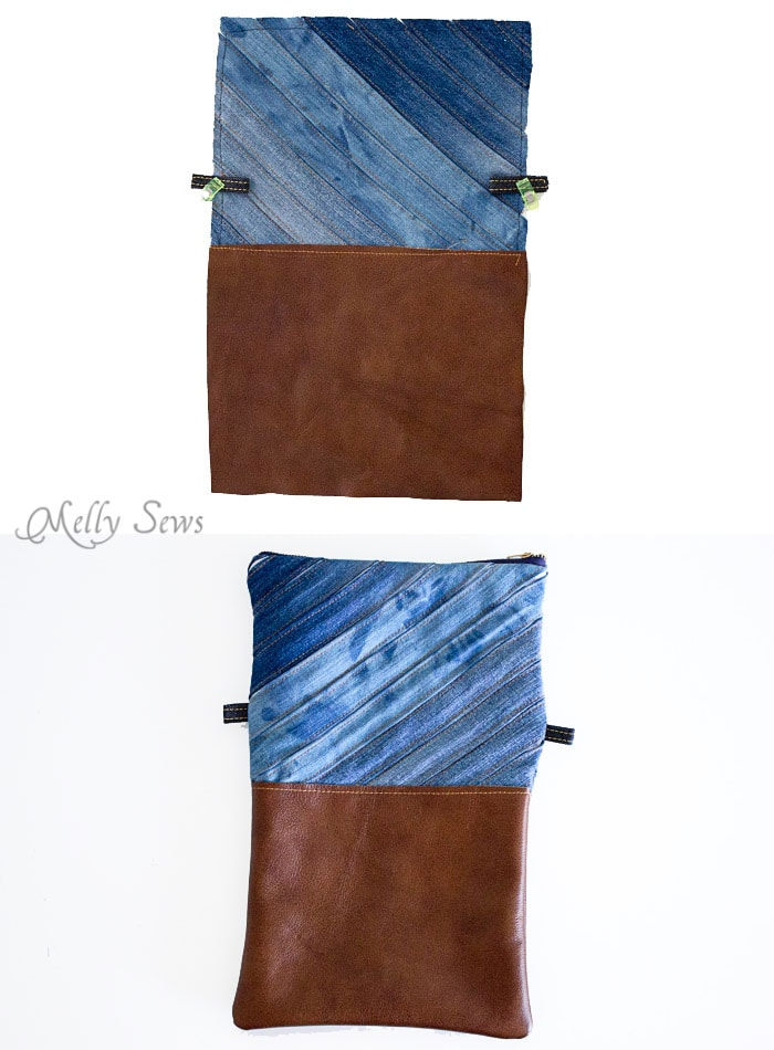 Step 3 - Upcycled Denim Cross Body Bag Tutorial - Great Way to Use Denim Scraps - Melly Sews