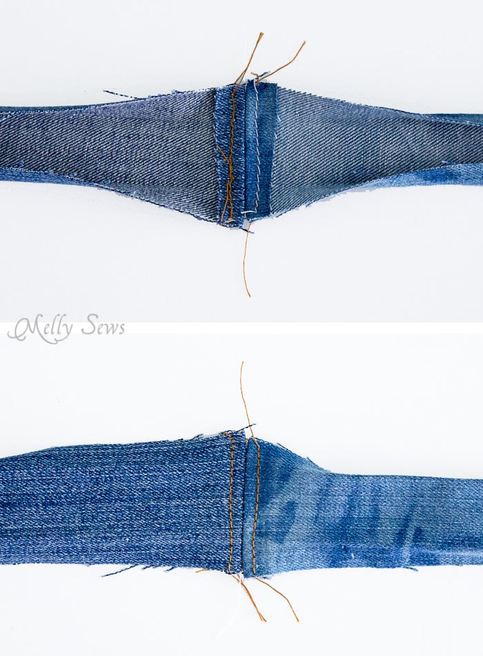 Step 4 - Upcycled Denim Cross Body Bag Tutorial - Great Way to Use Denim Scraps - Melly Sews