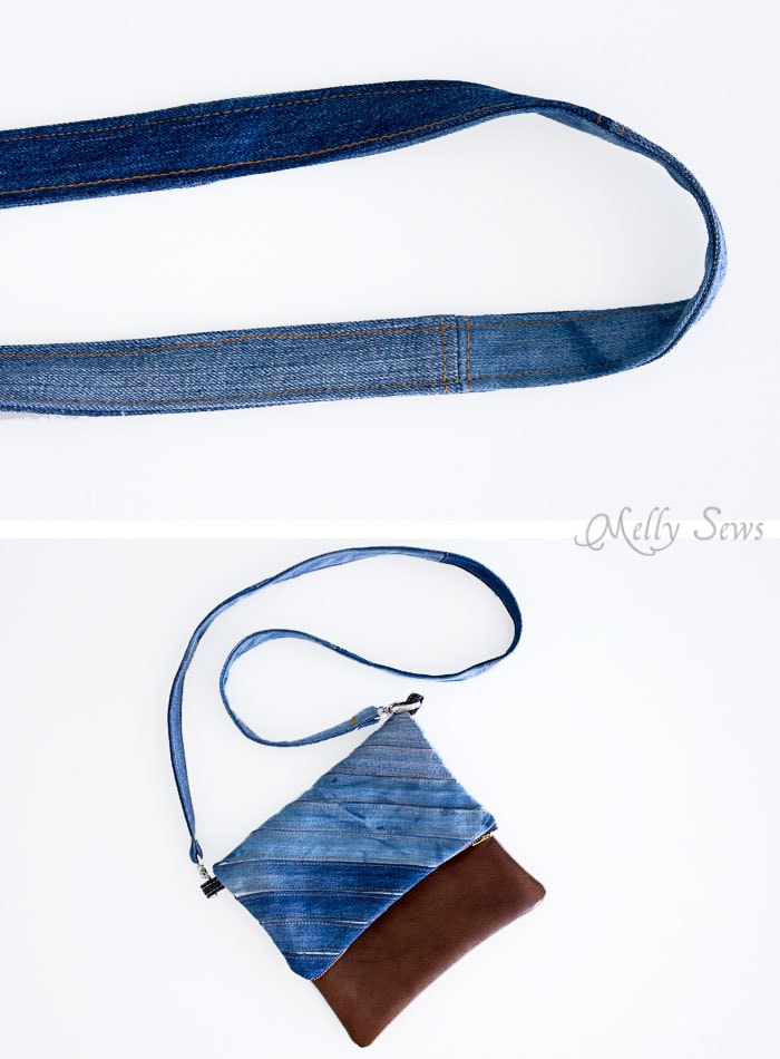 Step 5 - Upcycled Denim Cross Body Bag Tutorial - Great Way to Use Denim Scraps - Melly Sews