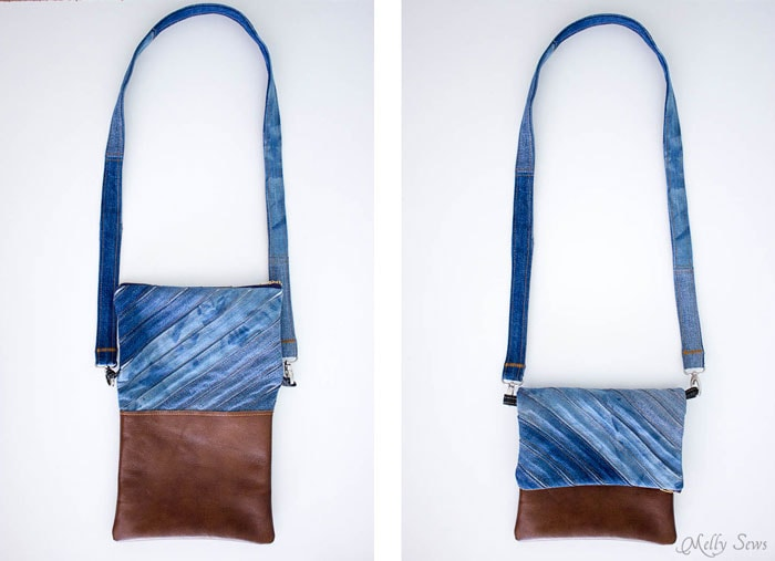 Fold Over Clutch - Would make a good gift! Upcycled Denim Cross Body Bag Tutorial - Great Way to Use Denim Scraps - Melly Sews