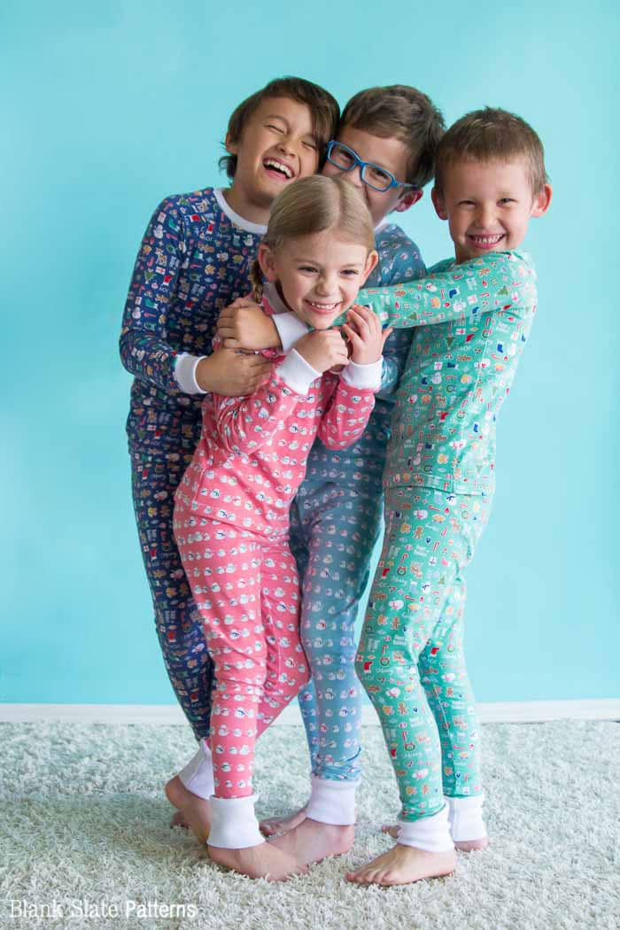 So fun! Dreamtime Jammies - Kids Pajama Pattern from Blank Slate Patterns - sew matching Christmas pajamas
