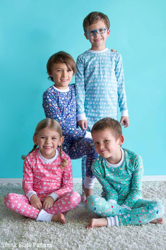 Group shot - Dreamtime Jammies - Kids Pajama Pattern from Blank Slate Patterns - sew matching Christmas pajamas