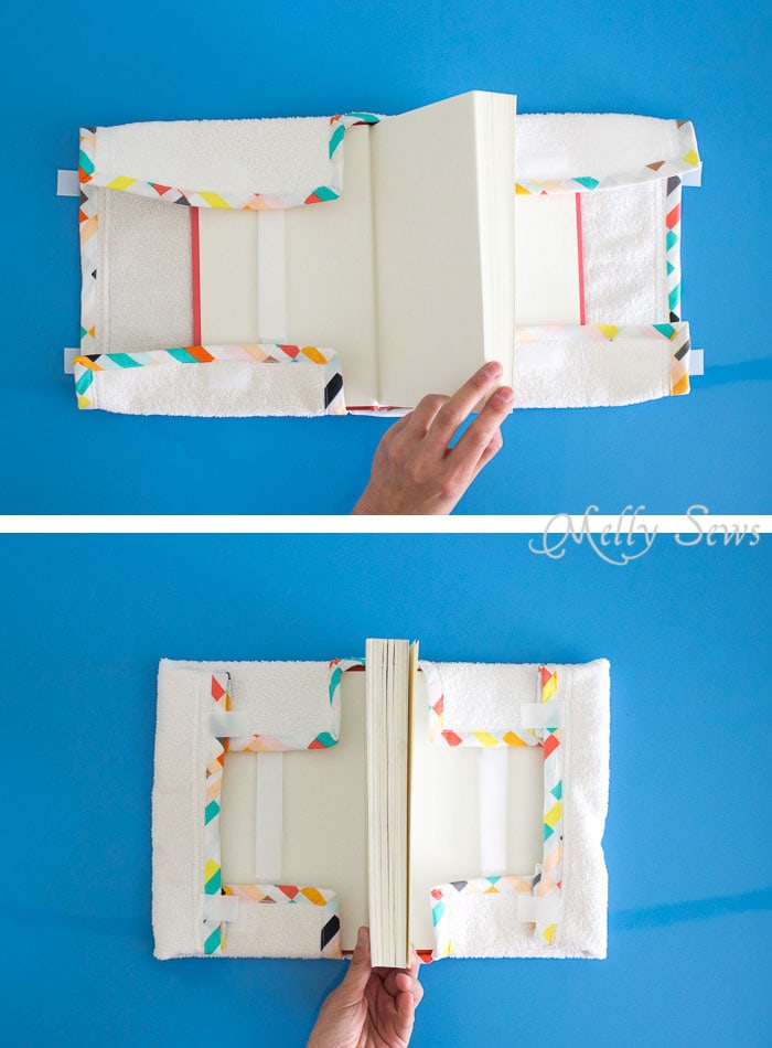 Wrap it up - Great unusual gift idea for the book lover - a Bathtub Book Cover to protect books while in the bath - DIY sewing tutorial by Melly Sews