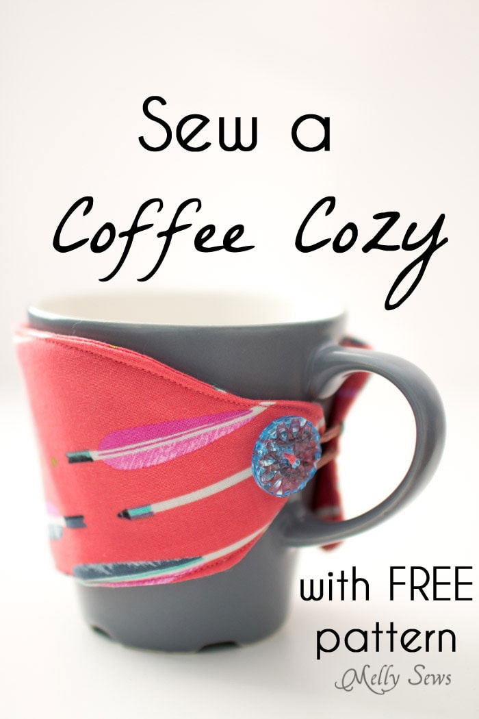 Sew a Coffee Cozy with this free pattern and tutorial + video from Melly Sews