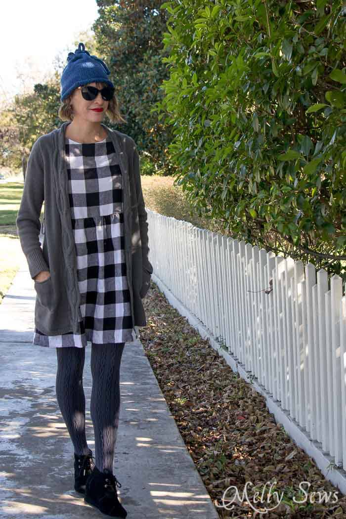 Buffalo plaid flannel dress, long cardigan and hat fall outfit - Convertible Knit Hat to Knit Cowl - Free Knitting Pattern for this versatile accessory - Melly Sews
