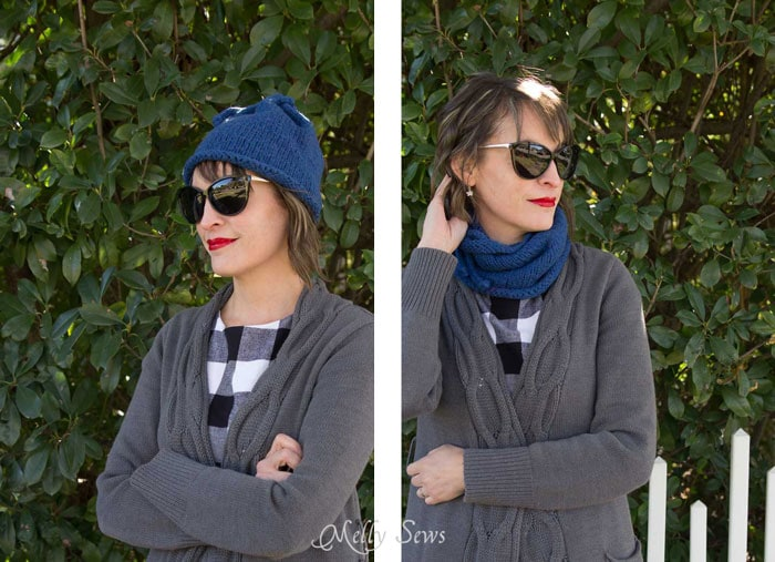 Wear it as a hat or as a cowl - Convertible Knit Hat to Knit Cowl - Free Knitting Pattern for this versatile accessory - Melly Sews