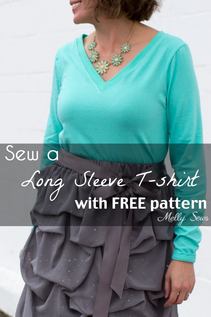 Sew a Long Sleeve V-neck Women's T-shirt - Use this free pattern and tutorial from Melly Sews. Every girl needs this!