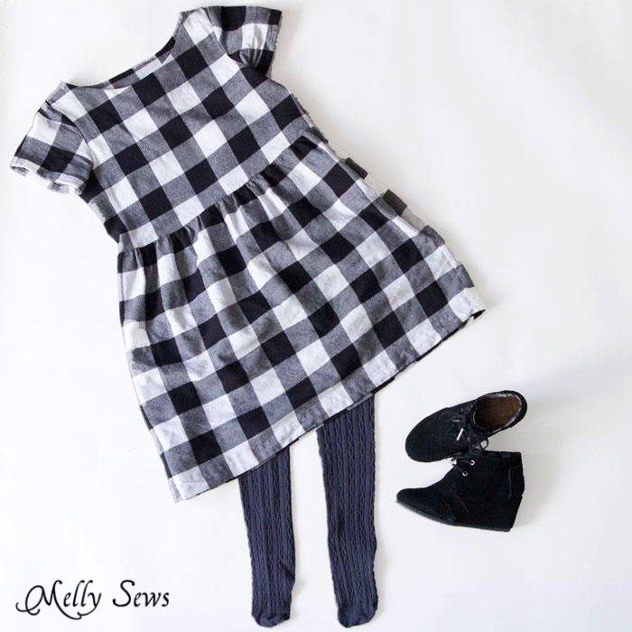 Shoreline Boatneck Dress pattern by Blank Slate Patterns hacked into a dress - Black and White Buffalo check dress - Melly Sews