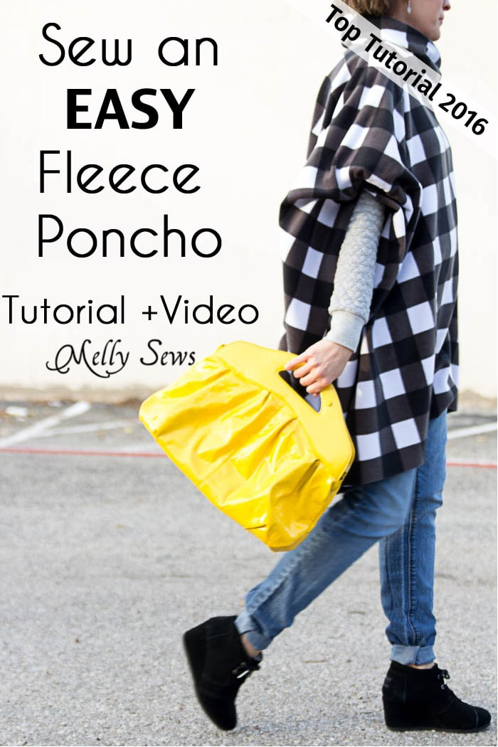 Top 5 Tutorials 2016 - Sew a Fleece Poncho - video from Melly Sews