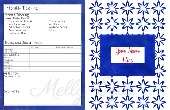 Cover and Monthly Tracking - Get your blog or business on track for the year with a customized planner. Get the DIY and free printables here - Melly Sews