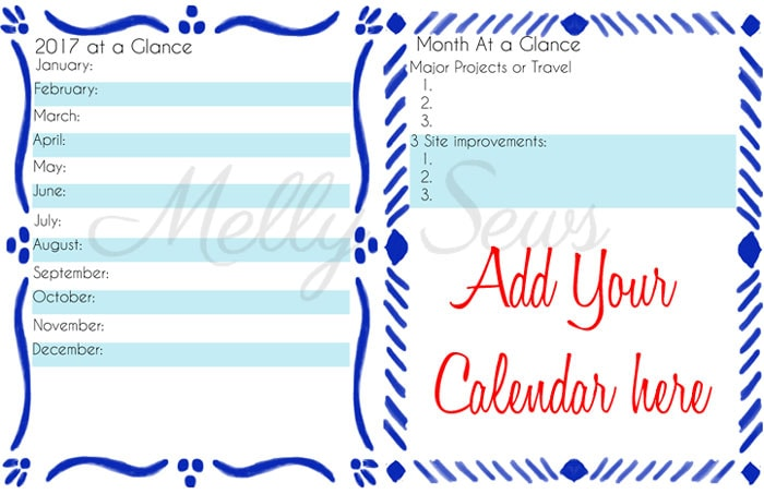 Yearly and Monthly Overviews - Get your blog or business on track for the year with a customized planner. Get the DIY and free printables here - Melly Sews