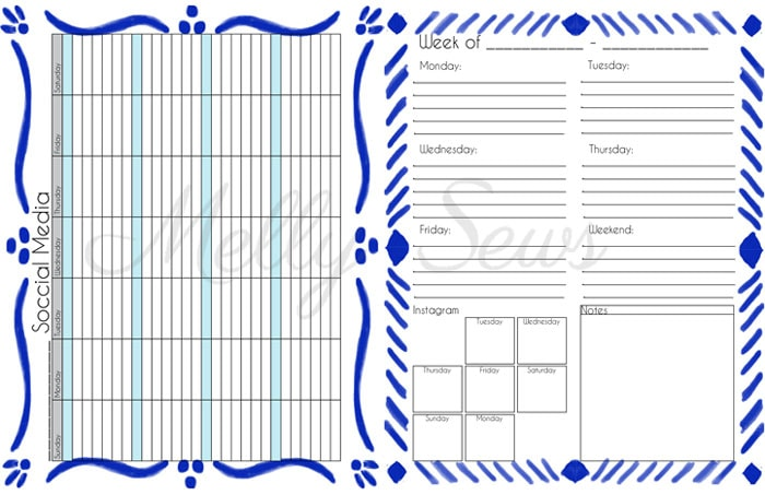 Social Media and Weekly To Do Lists - Get your blog or business on track for the year with a customized planner. Get the DIY and free printables here - Melly Sews