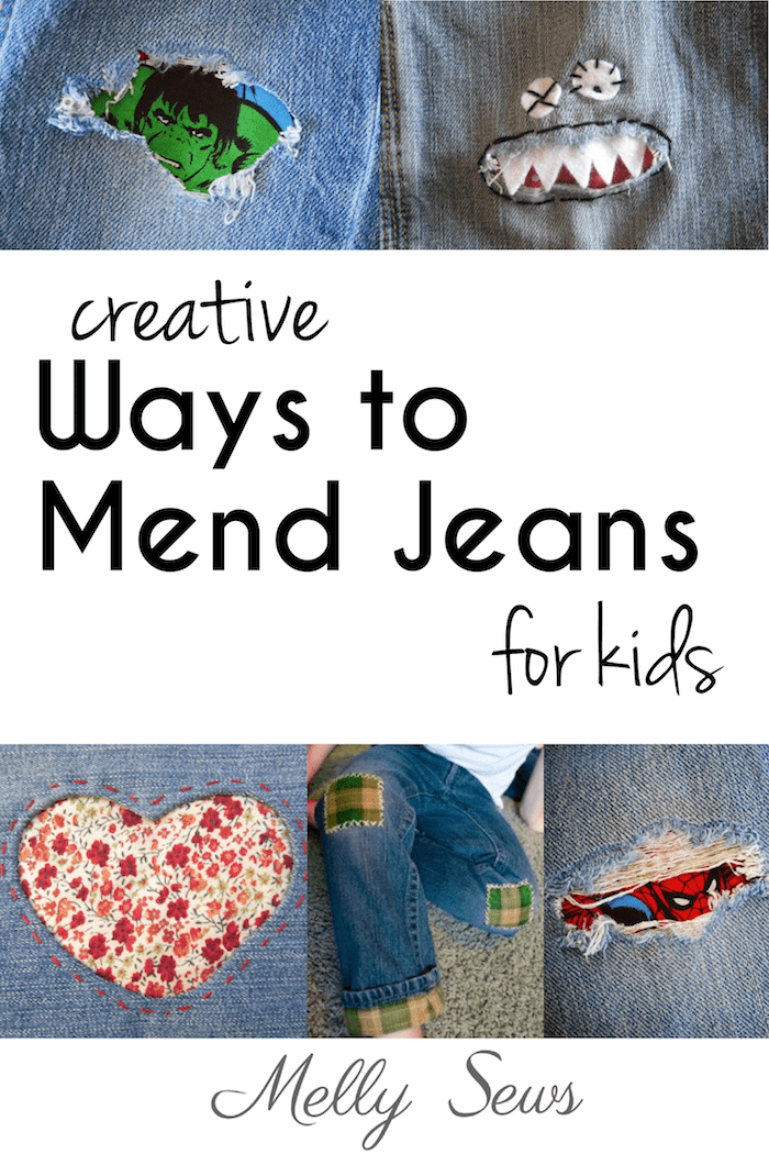 Creative Jeans Mending for Kids - tutorials roundup from Melly Sews