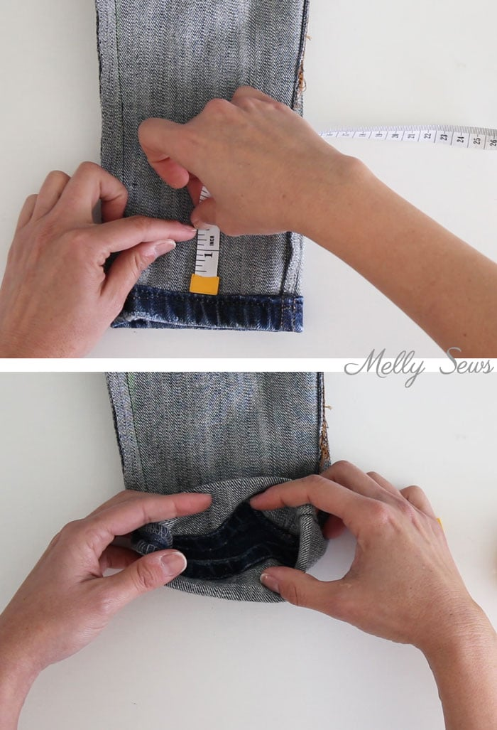 Step 2 - How to Hem Jeans - Use this method to keep the original hem and the wear and distress on it - Melly Sews