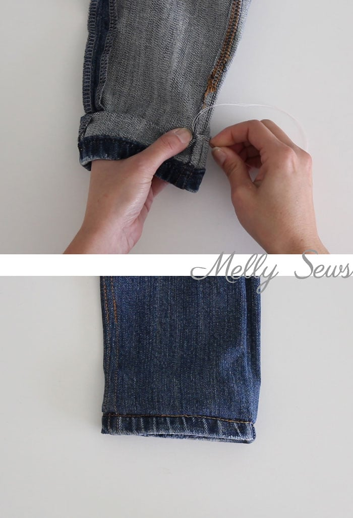 Step 4 - How to Hem Jeans - Use this method to keep the original hem and the wear and distress on it - Melly Sews