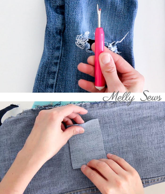 Step 1 - How to patch jeans - a DIY sewing tutorial with video from Melly Sews