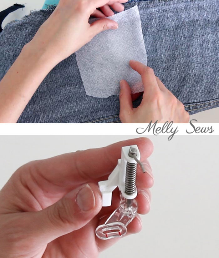 Step 2 - How to patch jeans - a DIY sewing tutorial with video from Melly Sews