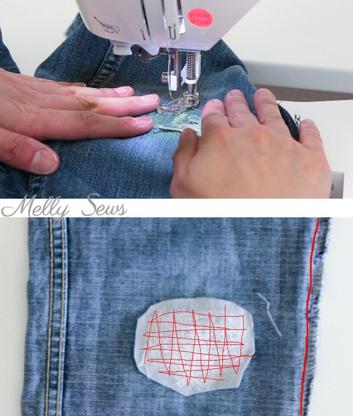 Step 3 - How to patch jeans - a DIY sewing tutorial with video from Melly Sews