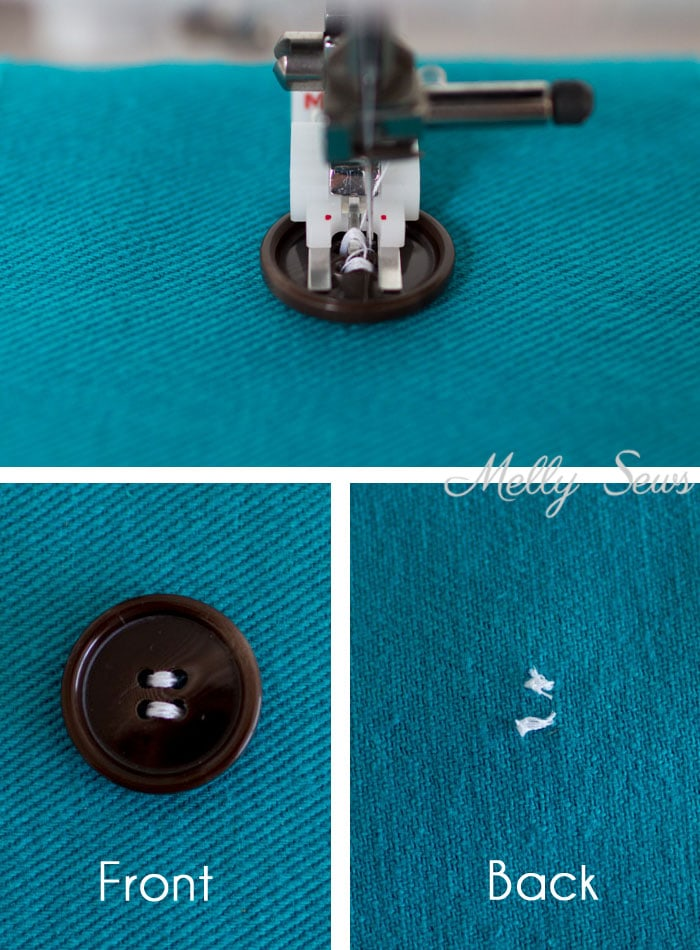 Mind Blown - how to sew on buttons with your sewing machine! How to Sew on a Button - Sew a Button on by hand for beginners or by machine with these tutorials from Melly Sews