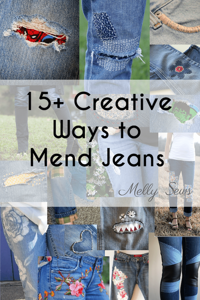 Creative Jeans Mending Tutorials - inspiration roundup from Melly Sews