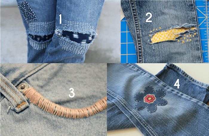 Creative Jeans Mending with Embroidery - inspiration from Melly Sews
