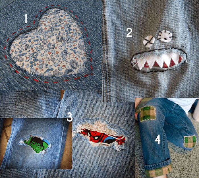 Creative Jeans Mending for Kids - inspiration from Melly Sews