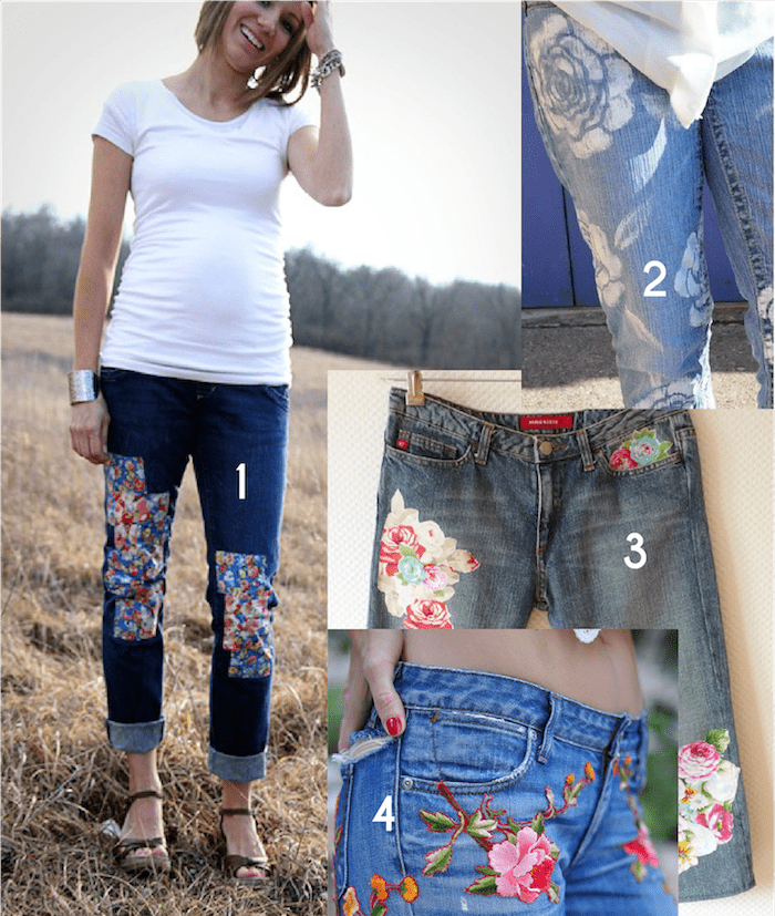 Creative Jeans Mending with Florals - inspiration from Melly Sews