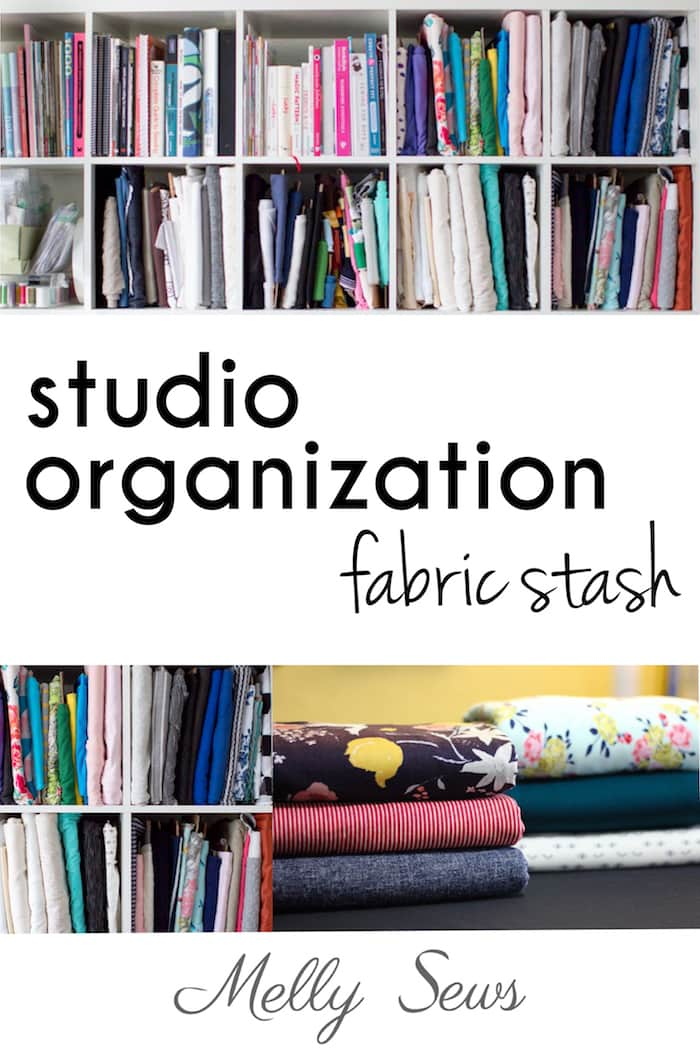 Sewing Studio Organization Tips for your fabric stash from Melly Sews