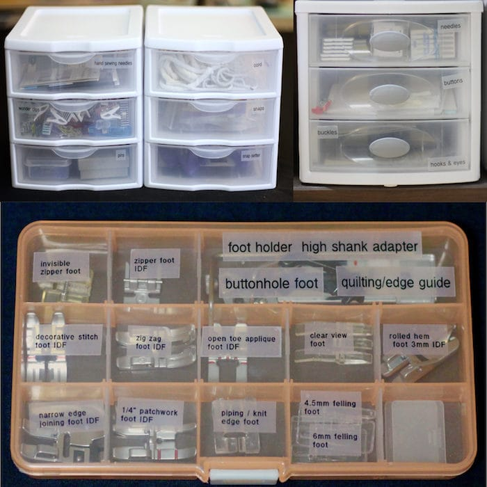 Sewing Studio Organization - notions storage - tips and tricks from Melly Sews