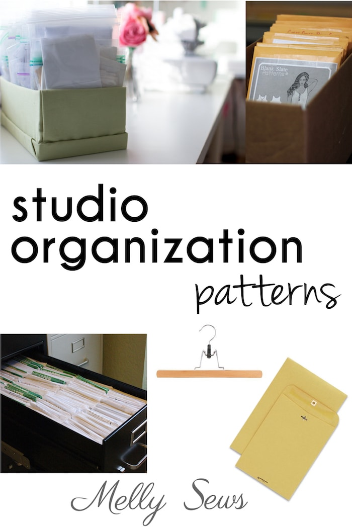 Sewing Studio Organization - pattern storage tips and tricks from Melly Sews