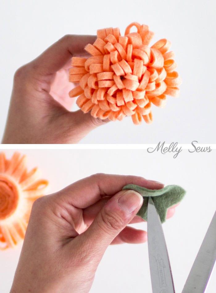 Step 4 - How to make a felt chrysanthemum - felt flower tutorial by Melly Sews