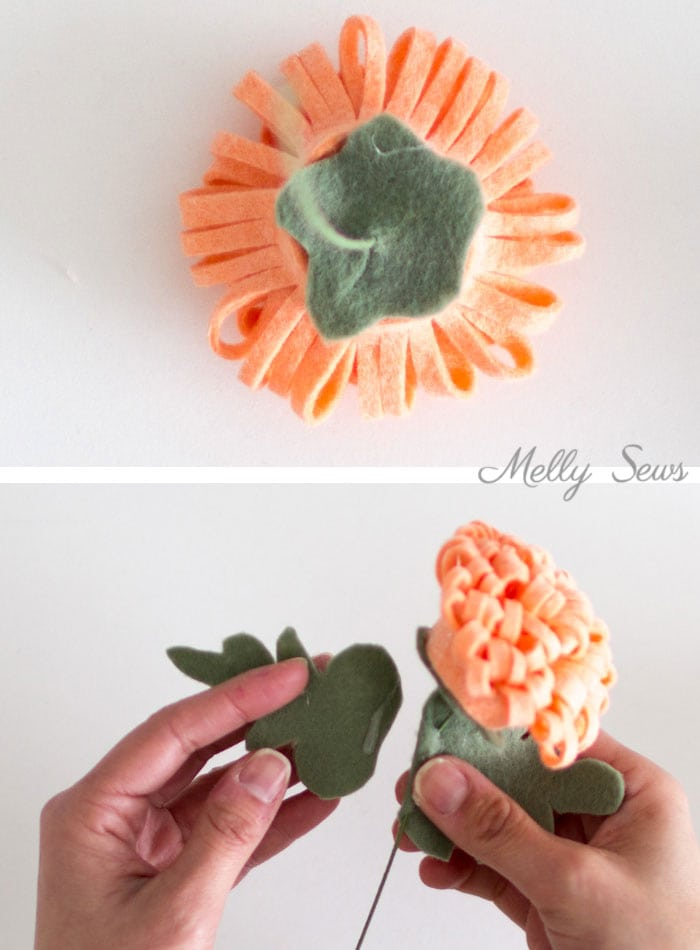 Step 5 - How to make a felt chrysanthemum - felt flower tutorial by Melly Sews