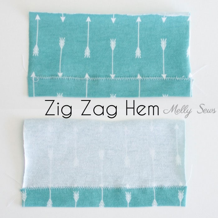 Zig Zag Stretch Hem - How to sew a knit hem - 5 different ways to sew a knit hem, 4 with a regular sewing machine - tutorial with video by Melly Sews