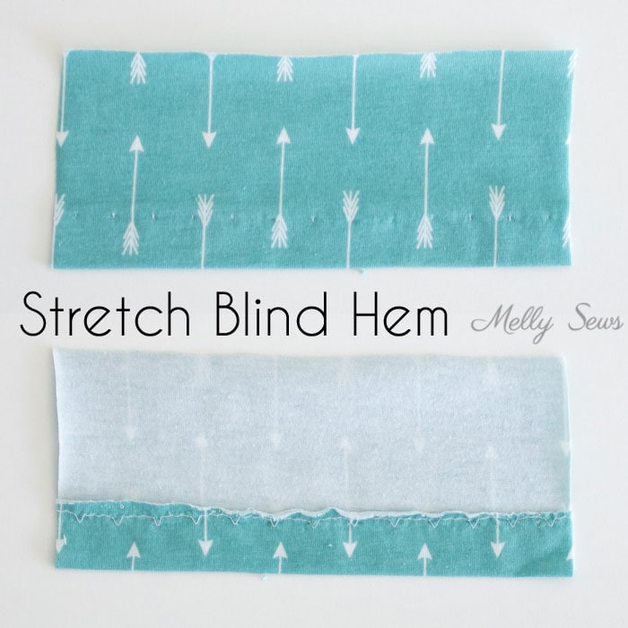Stretch Blind Hem - How to sew a knit hem - 5 different ways to sew a knit hem, 4 with a regular sewing machine - tutorial with video by Melly Sews