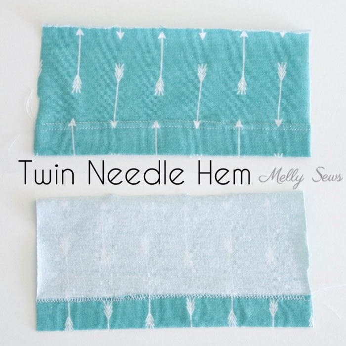 Twin Needle Hem - How to sew a knit hem - 5 different ways to sew a knit hem, 4 with a regular sewing machine - tutorial with video by Melly Sews