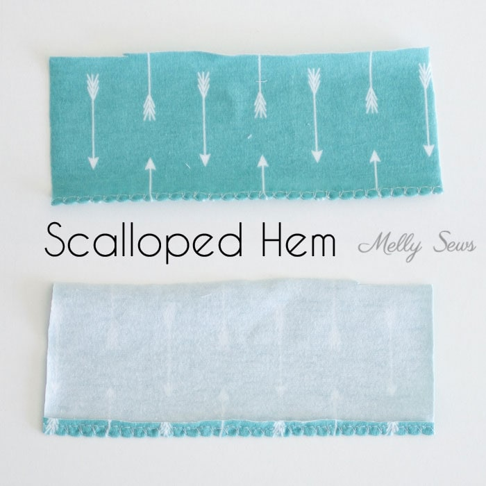 Scalloped hem - How to sew a knit hem - 5 different ways to sew a knit hem, 4 with a regular sewing machine - tutorial with video by Melly Sews