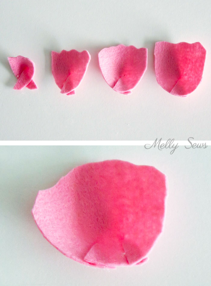 Step 3 - How to make a felt peony - felt flower tutorial by Melly Sews
