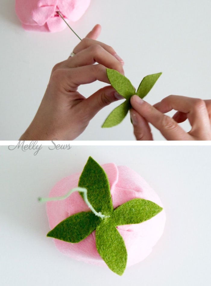 Step 6 - How to make a felt peony - felt flower tutorial by Melly Sews